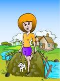 Menina que anda com cão pequeno Fotos de Stock