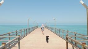 Menina que anda com o cão pequeno engraçado no cais Batumi, Geórgia video estoque