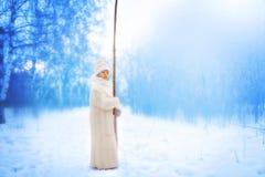 Menina que anda no parque do inverno Imagem de Stock