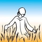 Menina que anda no prado ilustração royalty free