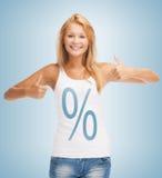 Menina que aponta no sinal de por cento Fotografia de Stock