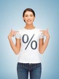 Menina que aponta no sinal de por cento Fotos de Stock