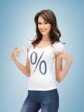 Menina que aponta no sinal de por cento Imagem de Stock