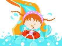 Menina que aprecia a corrediça de água Imagem de Stock