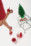Menina que aprecia o Natal Foto de Stock Royalty Free