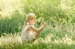 Menina que aprecia o verão no prado fotografia de stock royalty free