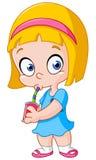 Menina que bebe de uma lata ilustração stock