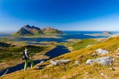 Menina que caminha em montanhas de Lofoten entre fiordes, ilhas de Lofoten, Noruega fotografia de stock royalty free