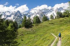Menina que caminha nas montanhas Fotos de Stock Royalty Free