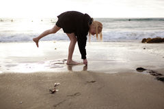 Menina que coleta escudos na praia Foto de Stock