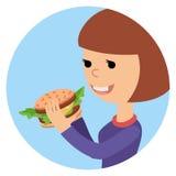 Menina que come o sanduíche Ilustração do vetor no fast food do tema Imagem de Stock Royalty Free