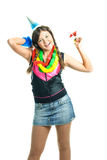 Menina que comemora seu aniversário Fotos de Stock Royalty Free