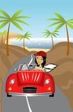 Menina que conduz o carro retro Imagens de Stock Royalty Free