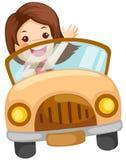 Menina que conduz um carro Imagem de Stock
