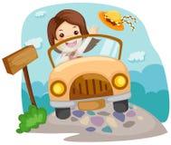 Menina que conduz um carro Fotografia de Stock