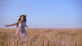Menina que corre no campo de trigo dourado, movimento lento vídeos de arquivo
