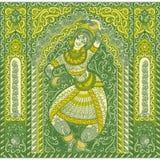 Menina que dança a dança indiana ilustração decorativa, ornamented ilustração do vetor