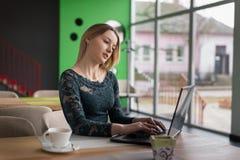 Menina que datilografa no portátil Imagens de Stock