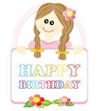 Menina que deseja um feliz aniversario ilustração stock