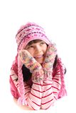 Menina que desgasta a roupa invernal fotos de stock