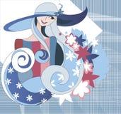 Menina que desgasta um chapéu no fundo de matéria têxtil Foto de Stock Royalty Free