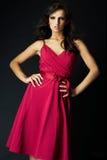 Menina que desgasta um vestido agradável do sibilo Fotos de Stock Royalty Free