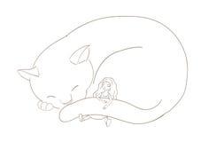 Menina que dorme com gato Imagem de Stock