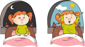 Menina que dorme e que desperta Imagem de Stock Royalty Free