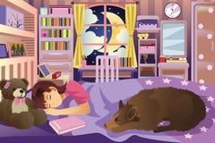 Menina que dorme em sua sala com seu cão Imagem de Stock Royalty Free