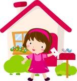 Menina que entrega o correio Imagem de Stock