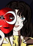 Menina que esconde atrás de uma máscara Imagens de Stock Royalty Free