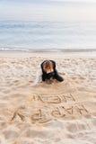 Menina que escreve o ano novo na areia Fotografia de Stock