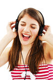 Menina que escuta a música Imagem de Stock Royalty Free