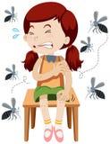 Menina que está sendo mordida por mosquitos ilustração royalty free