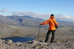 Menina que está sobre uma montanha e que olha no lago Imagens de Stock