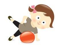 Menina que exercita com bola ilustração royalty free