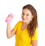 menina que exercita com dumbbell Fotografia de Stock Royalty Free