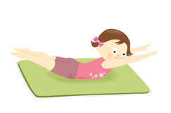 Menina que exercita na esteira Fotografia de Stock