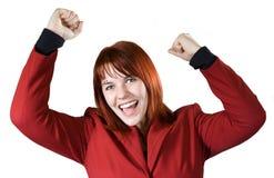 Menina que exulta uma vitória Imagens de Stock