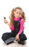 Menina que fala no telefone Imagens de Stock Royalty Free