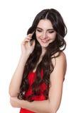 A menina que fala no telefone imagens de stock royalty free