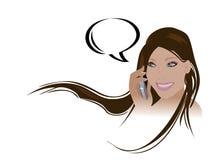 Menina que fala no telefone de pilha ilustração royalty free