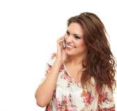 Menina que fala o telefone Imagens de Stock Royalty Free
