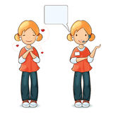 Menina com expressões e ações diferentes Foto de Stock Royalty Free