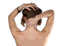 Menina que faz a auto-massagem Ilustração Stock