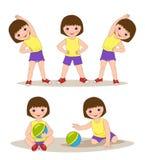 menina que faz exercícios da manhã Fotografia de Stock Royalty Free