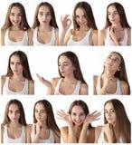 Menina que faz expressões faciais Fotografia de Stock Royalty Free