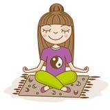 Menina que faz a ioga Mulher que senta-se na meia pose dos lótus Ilustração desenhada mão do vetor Meditação, felicidade, calma Fotos de Stock