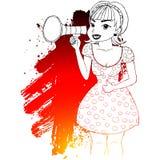 Menina que faz o anúncio com megafone ou altifalante ilustração royalty free