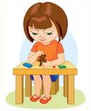 A menina que faz o plasticine figura a ilustração dos desenhos animados no fundo branco Fotos de Stock